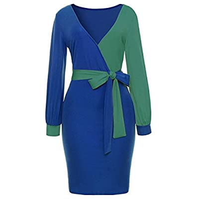 ECOFCOS Women's Vogue V-Neck Long Lantern Sleeve Midi Bodycon Skirt Dress With Tie Belt