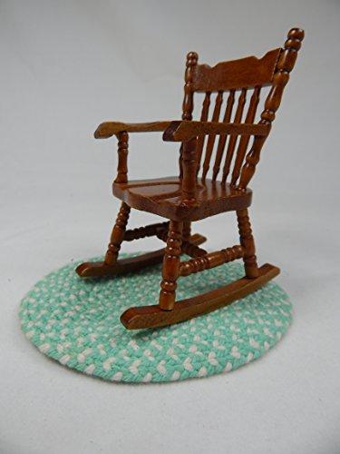 "Doll House Miniature 3"" x 4"" Rocker Rocking Chair w/rug #Z213G from Mini Bear Gems"