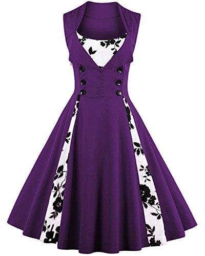 50s style bridesmaid dresses purple - 3