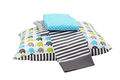 Bacati Little Sailor 3 Piece Toddler Bedding Set, Aqua/Lime/Grey