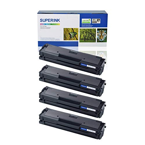 (SuperInk 4PK Compatible Black D111S MLTD111S Toner Cartridge Replacement for Samsung 111S MLT-D111S SL-M2020W/M2022/M2022W/M2070/M2070FW/M2070W High Yield)