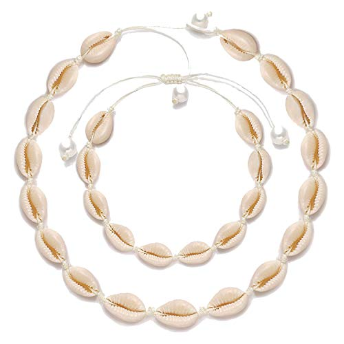 XOCARTIGE Cowrie Shell Choker Necklace Anklets Set Hawaii Wakiki Seashell Choker Set for Women Girls Men Summer Beach Jewelry Set (Choker+Anklet)