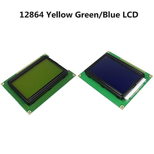 12864 128 x 64ドットグラフィックイエローグリーン/ブルーカラー付きバックライトLCDディスプレイモジュールST7920パラレルポート用arduino diyキットブルー