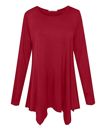 Quality Women Red T-shirt - JollieLovin Womens Long Sleeve Tunic Top Loose Plus Size T Shirt (Wine Red M)