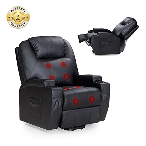 Power Lift Recliner Sofa Chair with Massage and Heating, Luxurious Bonded Leather Lounge Living Room Chair, Black