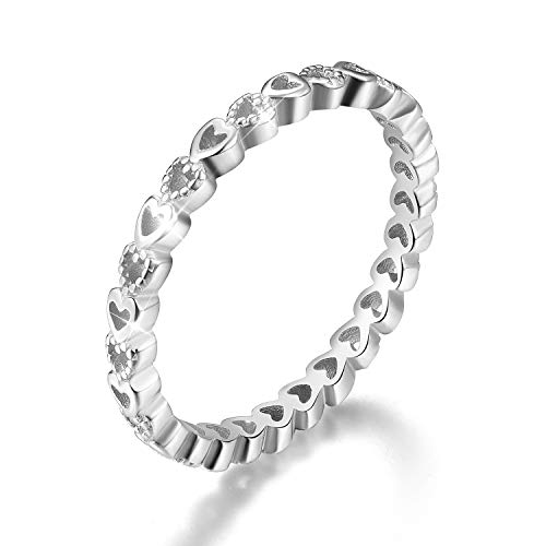 - Esberry 18K Gold Plating 925 Sterling Silver Endless Love Heart Stacking Rings Eternity Ring Engagement Wedding Bands for Women (White Gold, 7.5)