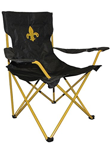 Leigh Country TX 93490 Fleur De Lis Lawn Chair, Black and Yellow For Sale