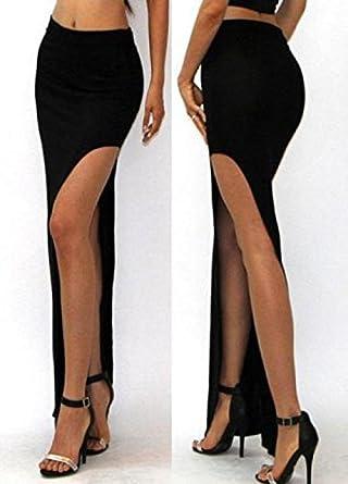 De la Mujer Negro Talle alto raja del lado de la falda maxi ...