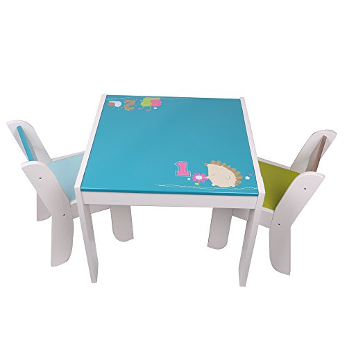 Labebe - Igel Sitzgruppe Set - mit 1 Kindertisch & 2 Stuhl