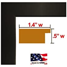24x36 Custom Made to Order Matte Black PICTURE POSTER FRAME Solid Wood 1.25 inch WIDE MOULDING
