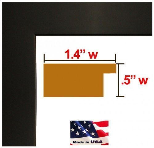 24x32 Custom Made to Order Wrapped Black Picture Poster Frame Solid Wood 1.25 inch Wide Moulding