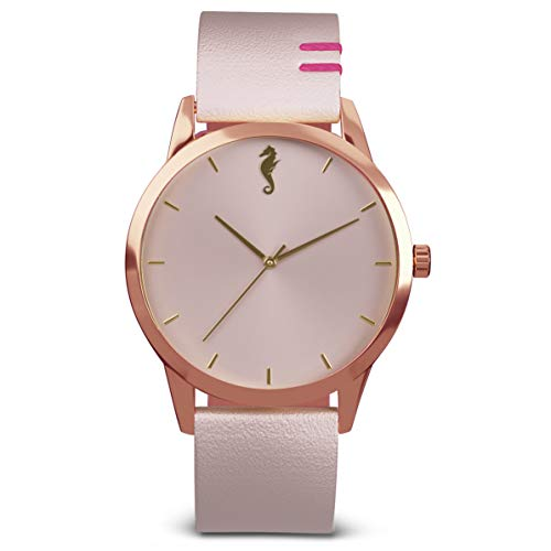 (Maro Cevalo Balance Watch for Men and Women   40mm Minimalist Wrist Watch with Analog Miyota Movement and Genuine Italian Leather 20mm Strap   50 Meter Water Resistance - Rosy Shores)