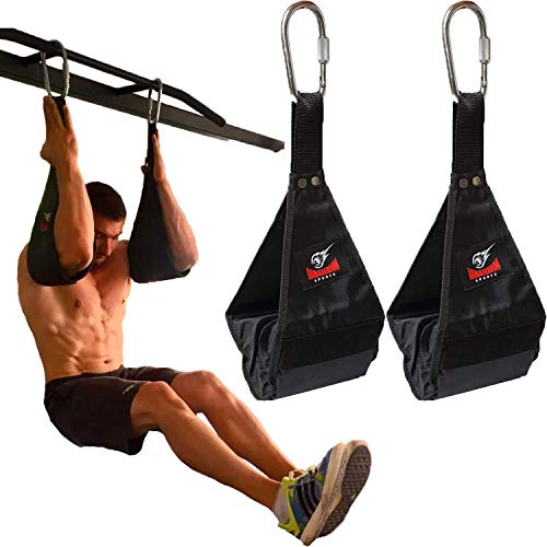 Premium Ab Slings Straps - Rip-Resistant Heavy Duty Pair for Pull Up Bar Hanging Leg Raiser Fitness with Big D-Ring Steel Quick Connectors, Superb Arm Padding for Abdominal Training Workout Equipment (Iron Gym Pull Up Bar Ab Straps)