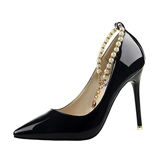 Gaorui Party Stiletto Pointed Glitter Pearl Heel Club Prom Women Formal Shoes High Toe Black rqwtHrz