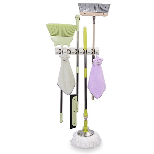 Mop And Broom Holder 5 Position With 6 Hooks Holds Up To