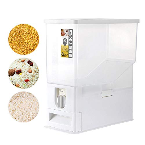 Volwco Rice Dispenser, Rice Storage Container, Rice Bin Container, Measureable Rice Cylinder, Kitchen Dry Food Rice Dispenser Plastic Container Auto Dispenser Organizer Set, 15KG Capacities of Rice