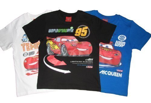 Disney Cars Featuring Lightning McQueen White, Black, and Royal Blue 3-Pack Short Sleeved T-Shirts