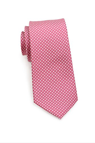 Bows-N-Ties Men's Necktie Skinny Pin Dot Microfiber Tie 2.75 Inches (Coral Red) (Pin Formal Dot)