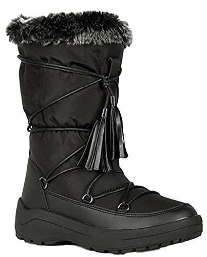 WW Alaska-01 Women Knee High Faux Fur Winter Snow Moon Boots Black 8.5 (Snow Winter Moon Boots)