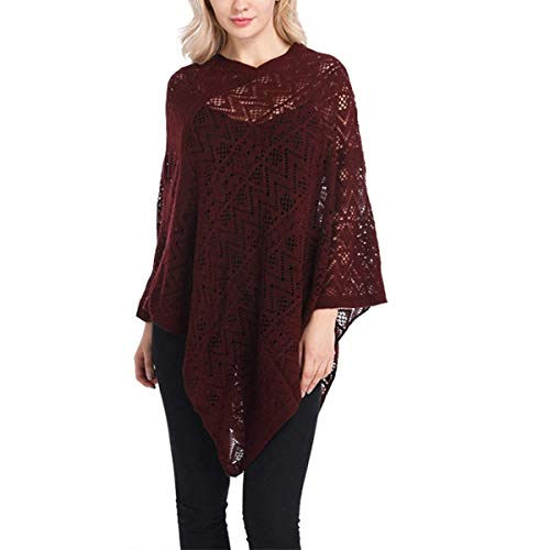 Unicolore Haut Vtements Fille Elgante Printemps Chale Winered Tops Cape Perspective Automne Le Dentelle Poncho Chale Femme Baggy IxqP7Ow7gC