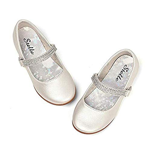 (STELLE Girls Mary Jane Shoes Slip-on Party Dress Flat for Kids Toddler (2ML, Champagne))