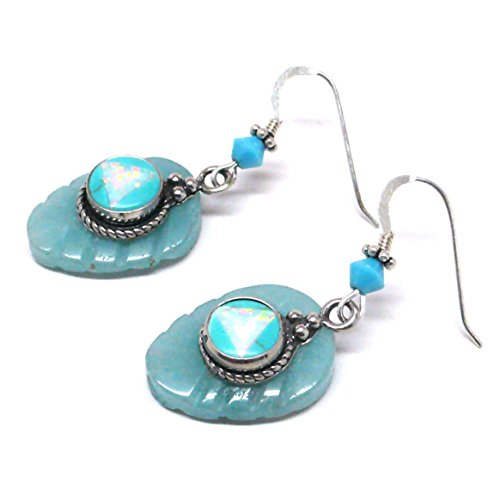 Amazonite Leaf Created Opal and Turquoise Charm Sterling Silver Layered Earrings