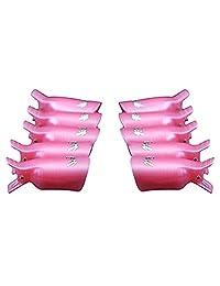 Nail Art Polish Remover Clips Reusable Finger and Toe UV Gel Soak Off Cap Cleaner Tool 10pcs (Pink)