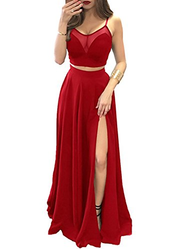(alilith.Z Sexy Spaghetti Strap Prom Dresses 2 Piece Long Ruffles Chiffon Bridesmaid Dresses for Women Red)