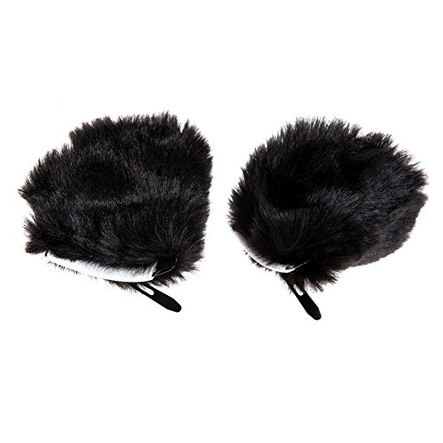 Chinatera Anime Hair Clip Cosplay Fancy Dress Halloween Party Cat Fox Ears Long Fur (Black+Pink) -