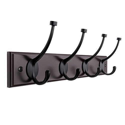 SONGMICS 16-inch Wooden Coat Hook Rack Rail Wall Mounted Coat Rack with 4 Dual Scroll Hooks for Towel Hat Umbrella Dark Brown ULHR20Z