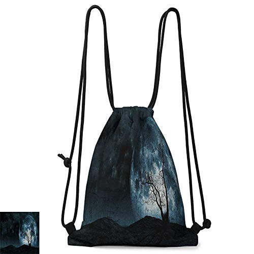 Portable backpack Fantasy Night Moon Sky with Tree Silhouette Gothic Halloween Colors Scary Artsy Background W14