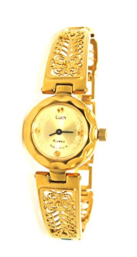 (Lady's Gold Tone Victorian Style Women Wrist Wind up Watch)