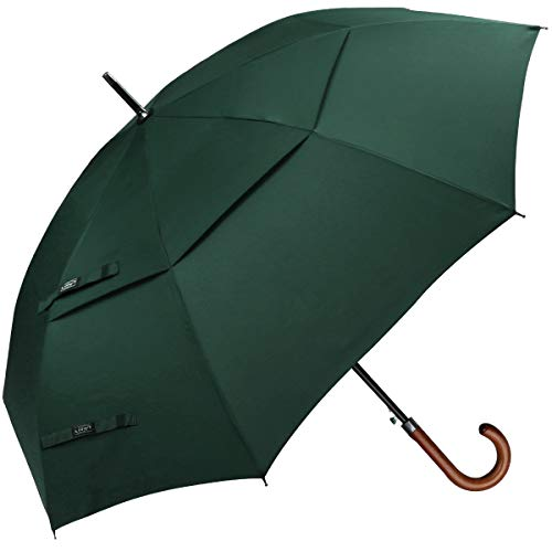 G4Free Wooden J Handle Classic Golf Umbrella Windproof Auto Open 52 inch Large Oversized Double Canopy Vented Rainproof Cane Stick Umbrellas for Men Women (Dark Green) ()