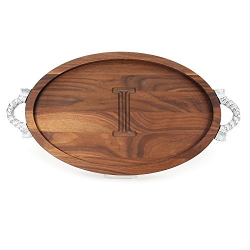 (BigWood Boards W420-RP-I Carving Board with Handles, Oval Trencher with Juice Well, Large Monogrammed Cutting Board with Groove, Walnut Serving)