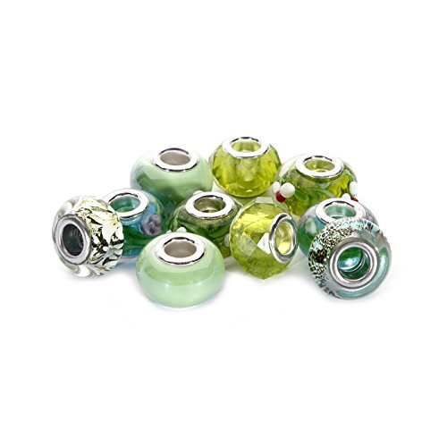 BRCbeads Top Quality 10Pcs Mix Silver Plate GREEN THEME Murano Lampwork European Glass Crystal Charms Beads Spacers Fit Chamilia Carlo Biagi Zableake Chain Charm Bracelets.
