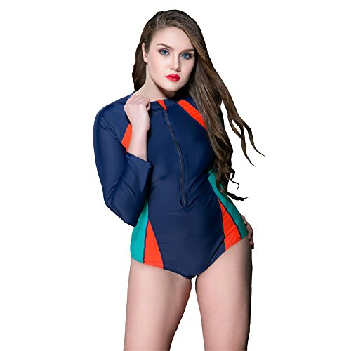 Large Size Summer Swimming Lady Wetsuit Long Sleeve New Style Single Diving Swimsuit (Blue, - Triathlon Near Me Suits
