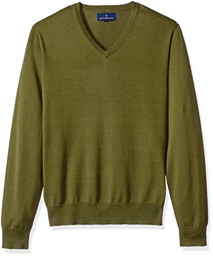 - BUTTONED DOWN Men's Supima Cotton Lightweight V-Neck Sweater, olive, XXX-Large