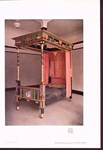 Bedstead Carved Canopy Bed Jessie Bayes 1913 lovely vintage color art print (Antique Bedsteads)