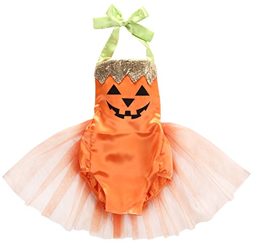 Super Cute Babies In Costumes (StylesILove Baby Girl Halloween Pumpkin Costume Bodysuit Tutu Skirt (100/12-18 Months, Orange Pumpkin))