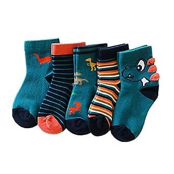 Ehdching Baby Toddler Boys Novelty Warm Cotton Dinosaur Stripe Cartoon Ankle Socks 5 Pack L(5-8 years)