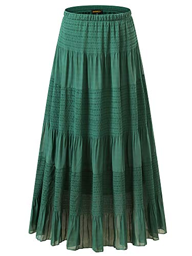 (NASHALYLY Womens Chiffon Retro Long Maxi Skirt Vintage Dress - Elastic High Waist Pleated A-Line Flared Maxi Skirts (Green, L))
