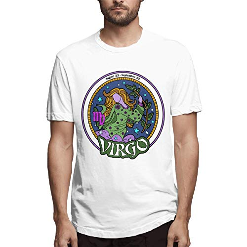 nordic runes Virgo Constellation Crew Short Sleeve T-Shirts for Men 3D Graphic Big and Tall Mens Tee Shirt White