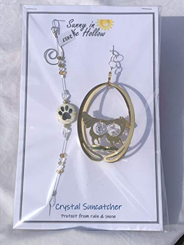 (Border Collie Gold Dog Suncatcher Clear Crystals Paw Print)