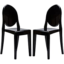 Poly and Bark Victoria Ghost Style Side Chair (Set of 2), Black
