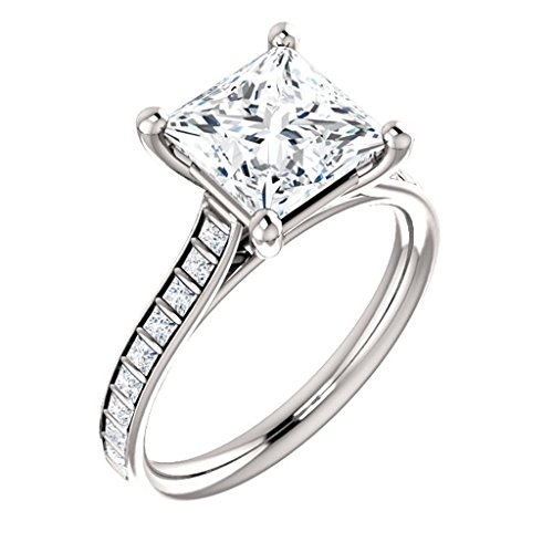 Contemporary Princess Cut White Diamond Engagement - Bar Diamond Cut Princess Set