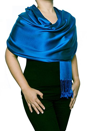 "Opulent Luxury Fashion Pashmina Wrap Scarf For Women Reversible Soft Luxurious Premium 100% Silk Shawl 70"" x 28"" (Reversible Silk Scarf)"