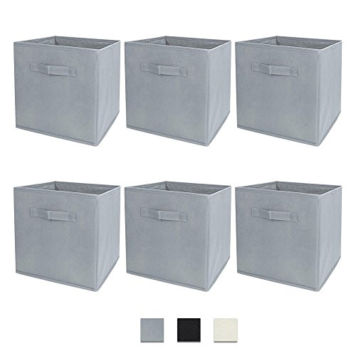 Foldable Cloth Container Storage Bins Baskets Cubes Box, Collapsible Shelf Closet Organizer Drawer, Good Helper for Home Decor and Outdoor Picnic 6 Pack Grey