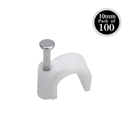 Round White Cable Clips 4mm-9mm with Fixing Nails Packs of 100