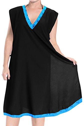 896e8a45c3 La Leela Frauen Tunika Bademode Bikinibadebekleidung Badeanzug Verschleiern  Bluse Eine Größe Schwarz_3150 tnqhp