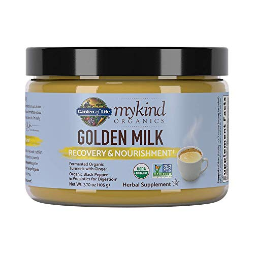 Garden of Life mykind Organics Golden Milk Recovery & Nourishment 3.7oz (105g) Powder - 44mg Turmeric Curcumin (95% Curcuminoids), Ashwagandha - Organic Non-GMO Vegan & Gluten Free Herbal Supplements